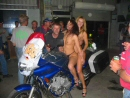 The burnout bike at Xmas Breakup Stripshow before it fell over.
